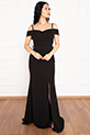 Becca 13247 Dalgıç Krep Askılı Kemerli Uzun Elbise / SIYAH
