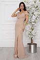 Billie 13248 Dalgıç Krep Uzun Elbise / BEJ