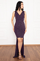 Almila 13250 V Yaka Ön kısa Arka Uzun Simli Elbise / MÜRDÜMSİM
