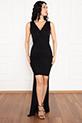 Almila 13250 V Yaka Ön kısa Arka Uzun Simli Elbise / SIYAH