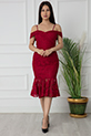 Dees 13266 Askılı Eteği Volanlı Elbise / BORDO