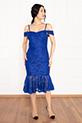 Dees 13266 Askılı Eteği Volanlı Elbise / SAX