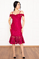 Dees 13266 Askılı Eteği Volanlı Elbise / FUSYA