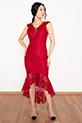 Veyl 13259  Eteği Volanlı Dantel Elbise / BORDO