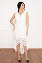 Veyl 13259  Eteği Volanlı Dantel Elbise / EKRU