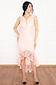 Veyl 13259  Eteği Volanlı Dantel Elbise / PUDRA