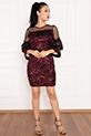 Paula 13268 Tül Pulpayet ,Kolları Detaylı Kısa Elbise / BORDO