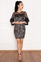 Paula 13268 Tül Pulpayet ,Kolları Detaylı Kısa Elbise / GUMUS