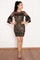 Paula 13268 Tül Pulpayet ,Kolları Detaylı Kısa Elbise / GOLD