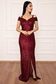 Leah 13267 Pulpayet Askılı Uzun Elbise / BORDO