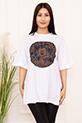 Bayan Micky Mouse Baskılı Salaş ESP05 T-shirt / BEYAZ