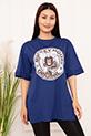 Bayan Micky Mouse Baskılı Salaş ESP05 T-shirt / SAX
