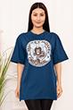 Bayan Micky Mouse Baskılı Salaş ESP05 T-shirt / INDIGO