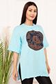 Bayan Micky Mouse Baskılı Salaş ESP05 T-shirt / MAVI