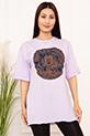 Bayan Micky Mouse Baskılı Salaş ESP05 T-shirt / LILA