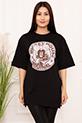 Bayan Micky Mouse Baskılı Salaş ESP05 T-shirt / SIYAH