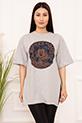Bayan Micky Mouse Baskılı Salaş ESP05 T-shirt / GRI