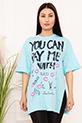 Bayan YCPMW Baskılı Salaş ESP06 T-Shirt / MAVI