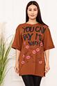 Bayan YCPMW Baskılı Salaş ESP06 T-Shirt / TABA