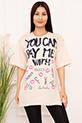 Bayan YCPMW Baskılı Salaş ESP06 T-Shirt / BEJ