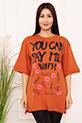 Bayan YCPMW Baskılı Salaş ESP06 T-Shirt / KIREMIT