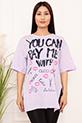 Bayan YCPMW Baskılı Salaş ESP06 T-Shirt / LILA