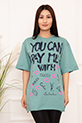 Bayan YCPMW Baskılı Salaş ESP06 T-Shirt / MİNT