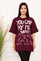 Bayan YCPMW Baskılı Salaş ESP06 T-Shirt / MURDUM