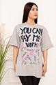 Bayan YCPMW Baskılı Salaş ESP06 T-Shirt / GRI