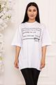 Bayan Style Your Life Baskılı Salaş ESP07 T-shirt / BEYAZ