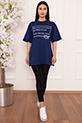 Bayan Style Your Life Baskılı Salaş ESP07 T-shirt / SAX