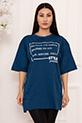 Bayan Style Your Life Baskılı Salaş ESP07 T-shirt / INDIGO