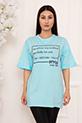Bayan Style Your Life Baskılı Salaş ESP07 T-shirt / MAVI