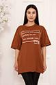 Bayan Style Your Life Baskılı Salaş ESP07 T-shirt / TABA