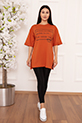 Bayan Style Your Life Baskılı Salaş ESP07 T-shirt / KIREMIT