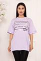 Bayan Style Your Life Baskılı Salaş ESP07 T-shirt / LILA