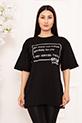Bayan Style Your Life Baskılı Salaş ESP07 T-shirt / SIYAH