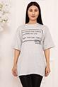 Bayan Style Your Life Baskılı Salaş ESP07 T-shirt / GRI