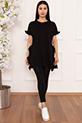Bayan Kol Ve Yırtmaç Fırfırlı 2984 T-shirt / SIYAH