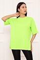 Bayan Bisiklet Yaka Basic Salaş ESP08 T-shirt / YESIL